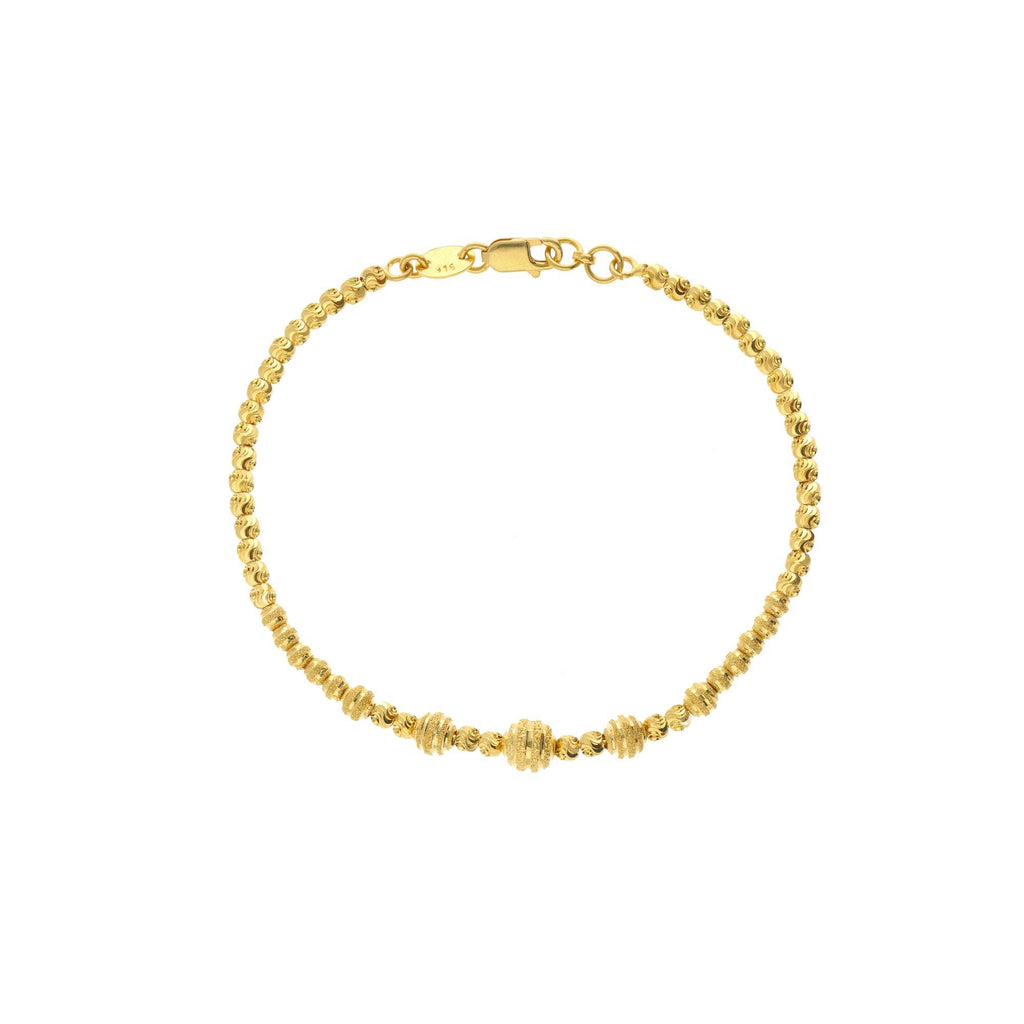 22K Yellow Gold Link Peace Bracelet W/ Varied Gold Ball Design, 8.9 grams |    Elegant wrist jewellery crafted exclusively in yellow gold.This gorgeous 22K yellow gold brace...