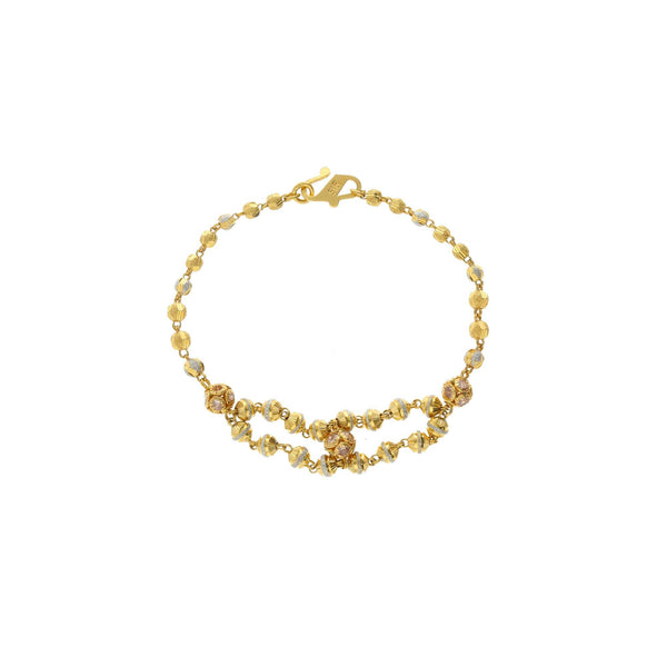 22K Yellow Gold Double Strand Link Peace Bracelet W/ Cubic Zirconia, 9 grams - Virani Jewelers |    A dainty bracelet crafted elegantly with a mix of yellow and white gold. This chic gold bracel...