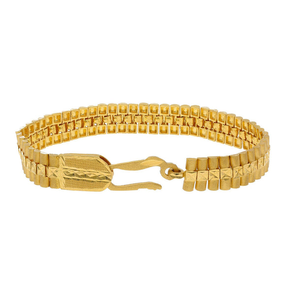 22K Yellow Gold Men's Watch Band Bracelet W/ Tubular Links & Centered Square Hammered Accents - Virani Jewelers |    Don't shy away from the opportunity to be flawlessly unique in special men's jewelry pieces li...