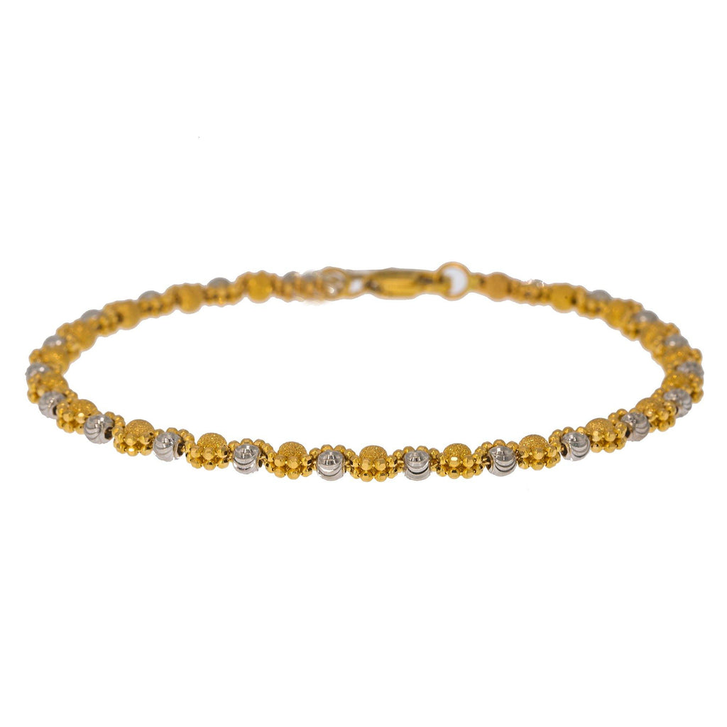 22K Multi Tone Gold Adjustable Bracelet W/ Double Beaded Strand | Create bold accents with radiant blends of gold colors and unique jewelry designs such as this 22...