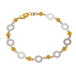 22K Multi Tone Gold Adjustable Bracelet W/ White Gold Disc Accents