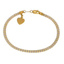 22K Multi Tone Gold Adjustable Bracelet W/ Heart Charm & Flat Beaded Chain