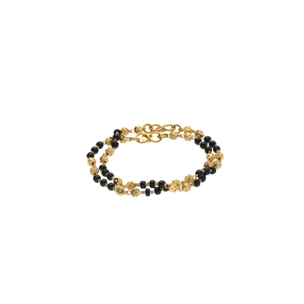 22K Yellow Gold Baby Bracelets Set of 2 W/ Gold Shamballa Beads & Black Beads, 5.1 grams |     Gift your kids the radiance of fine gold jewelry like this set of two 22K yellow gold baby br...