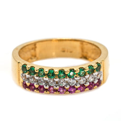 22K Yellow Gold Band Ring W/ Pave Set Rubies, Emeralds & CZ Gems