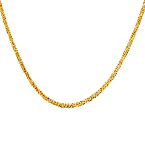 22K Yellow Gold Wheat Link Chain, 55.3 gm | Add bold and sophisticated 22 karat gold to your wardrobe with this men's 22K gold chain from Vir...