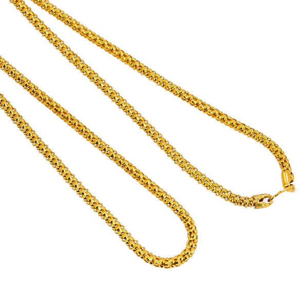 22K Yellow Gold Chain W/ Rounded Cap Link | Take your style to new heights with this 22K gold chain for men from Virani Jewelers!Features:  R...