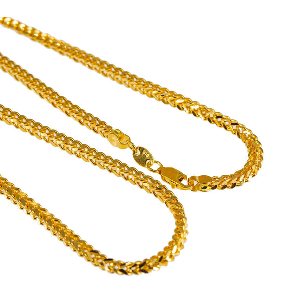 22K Yellow Gold Long Chain W/ Flat Wheat Link, 20 inches | Treat yourself to something elegant when you buy a 22K gold chain from Virani Jewelers!  Perfect ...