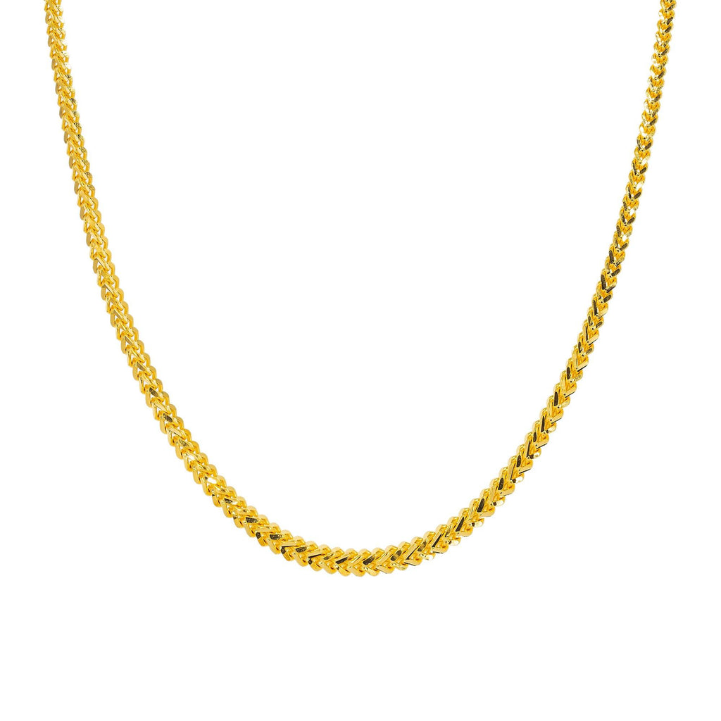 An image of the flat wheat link 22K gold rope chain from Virani Jewelers. | Treat yourself to something elegant when you buy a 22K gold chain from Virani Jewelers!  Perfect ...