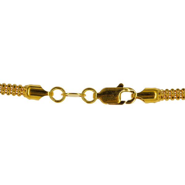 An image of the lobster claw clasp for the 22K rope chain from Virani Jewelers. | Enjoy the beauty and versatility of this rounded, ball strand 22K gold chain when you shop at Vir...