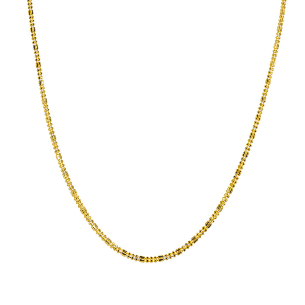 An image of the 22K gold Indian chain from Virani Jewelers. | Class up your wardrobe with a 22K gold chain from Virani Jewelers!  Features a shorter chain, mak...