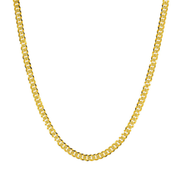 22K Yellow Gold Long Cuban Link Chain W/ Hammered Details, 24 Inches - Virani Jewelers | A Classic look is never far off with unique pieces like this extra-long 22K yellow gold men's Cub...
