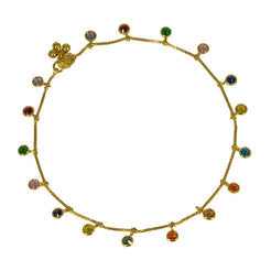 22K Yellow Gold Chain Anklet W/ Emeralds, Rubies, CZ Gems, Sapphire & Round Charms