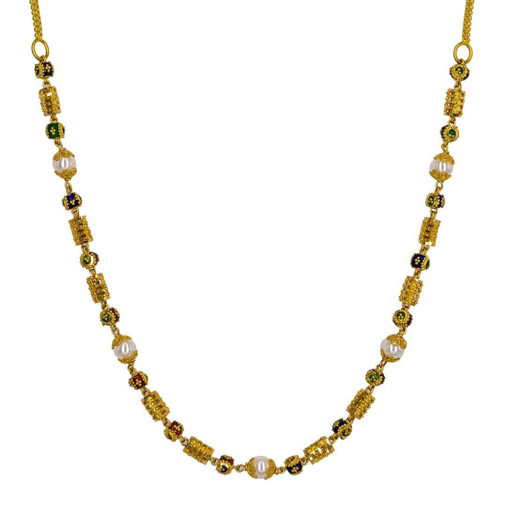 22K Yellow Gold Chain W/ Pearls, Enamel Details & Ornate Accents |  22K Yellow Gold Chain W/ Pearls, Enamel Details & Ornate Accents for women. This elegant 22K...