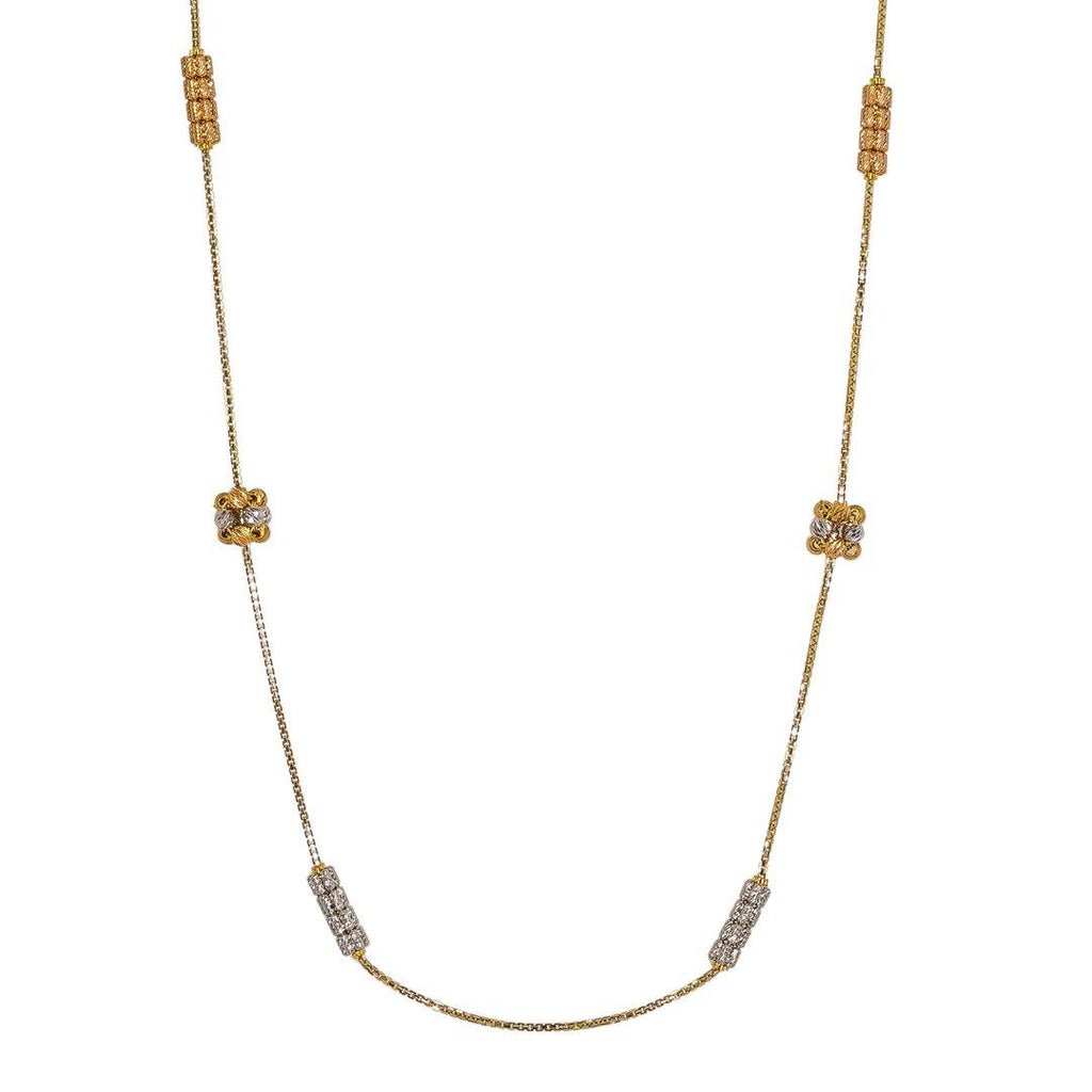 22K Multi Tone Gold Chain W/ Clustered Ball Accents |  22K Multi Tone Gold Chain W/ Clustered Ball Accents for women. This elegant 22K multi tone gold ...