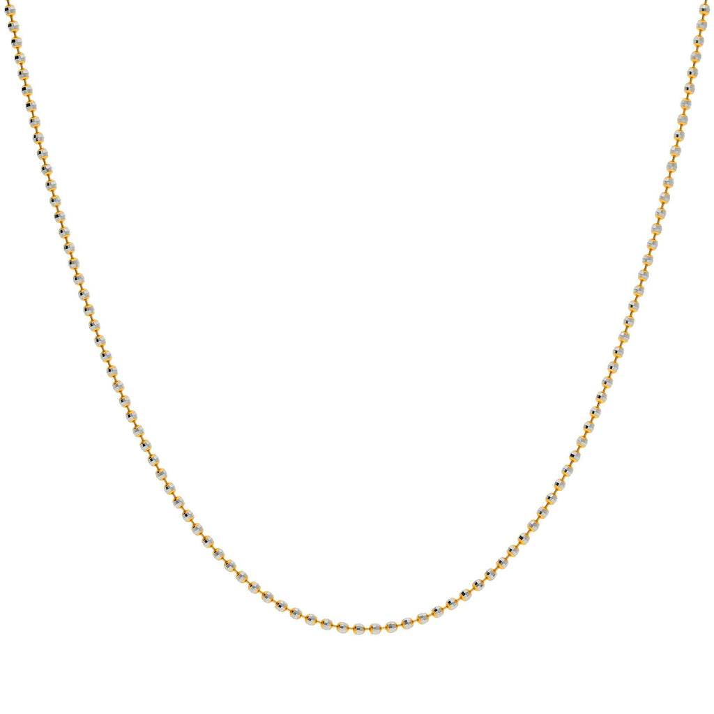 An image of a 22K gold chain with round beads from Virani Jewelers. | Combine simplicity with elegance when you wear this gorgeous Multi Tone Gold Bead Ball Chain Neck...