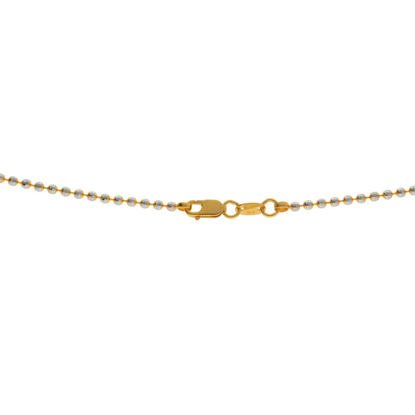 An image of the lobster claw closure on the 22K gold chain with round beads from Virani Jewelers. | Combine simplicity with elegance when you wear this gorgeous Multi Tone Gold Bead Ball Chain Neck...