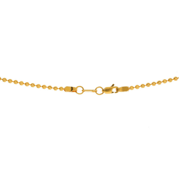 An image of the lobster claw clasp on the 22K gold chain from Virani Jewelers. | Let your sense of style shine when you pair any outfit with this simple, yet elegant, 22K gold ch...