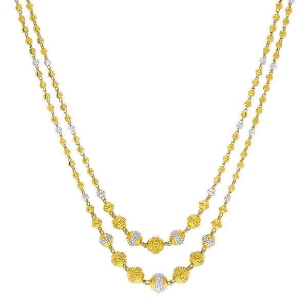 22K Multi Tone Gold Layered Necklace W/ Double Gold Ball Strands |    Add depths of unique designs to your desired look with the golden touch of this 22K multi tone...