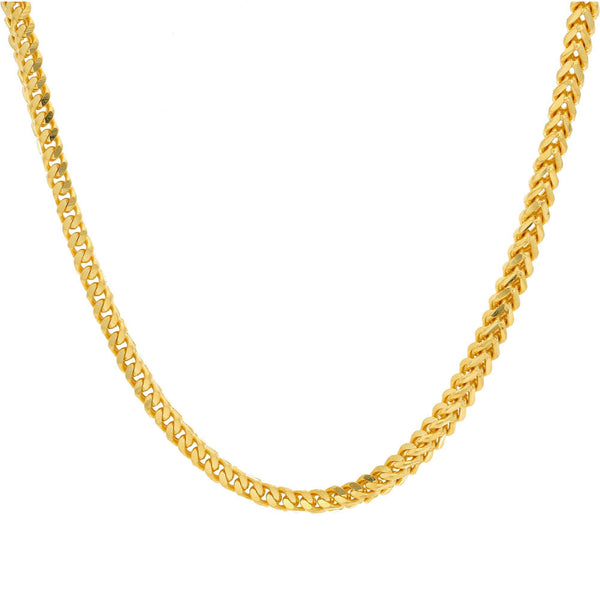 An image of the 22K gold chain with rounded Cuban links from Virani Jewelers. | Elevate your attire with a gorgeous 22K gold chain from Virani Jewelers.  Made with lobster claw ...