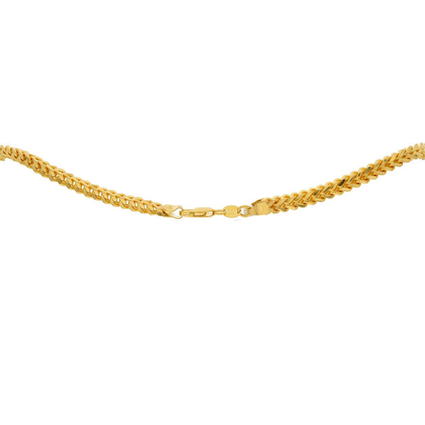 An image of the clasp of the 22K gold chain with rounded Cuban links from Virani Jewelers. | Elevate your attire with a gorgeous 22K gold chain from Virani Jewelers.  Made with lobster claw ...