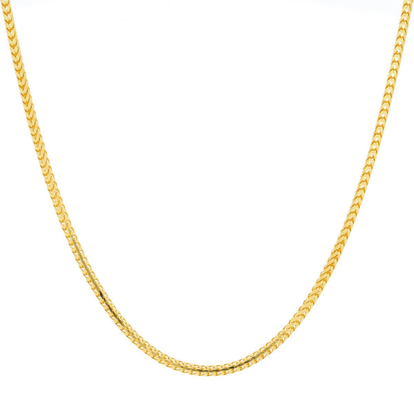 An image of the rounded wheat link 22K gold chain from Virani Jewelers. | Express your amazing sense of style when you complement your attire with a 22K gold chain from Vi...
