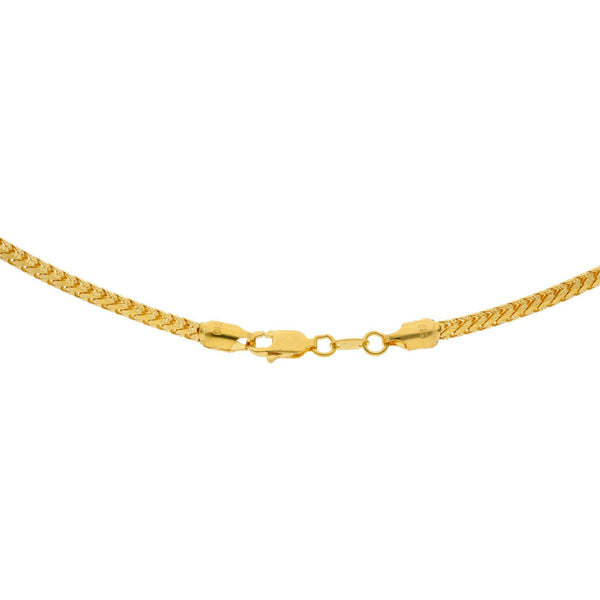 An image of the lobster claw clasp for the rounded wheat link 22K gold chain from Virani. | Express your amazing sense of style when you complement your attire with a 22K gold chain from Vi...