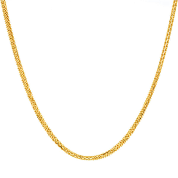 A close-up image of the rounded ball link 22K gold chain from Virani Jewelers. | Fall in love with this classic design when you shop our 22K gold chains at Virani Jewelers!  Feat...