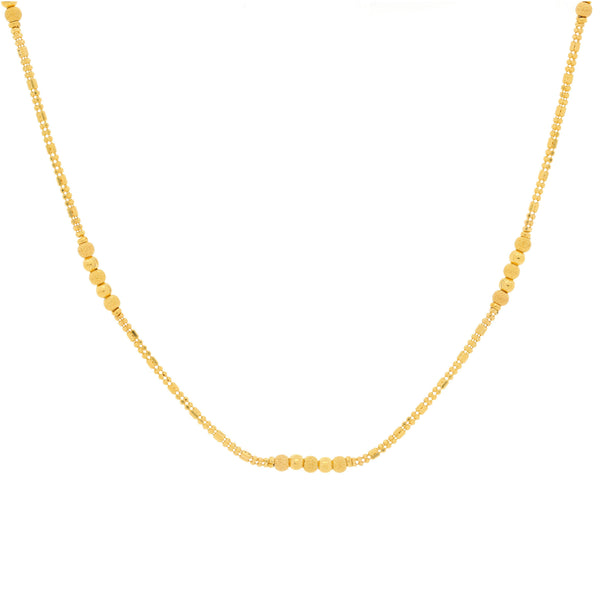 An image of the minimalist 22K gold necklace from Virani Jewelers. | Show off your minimalistic style with this gorgeous 22K gold necklace from Virani Jewelers!  Desi...
