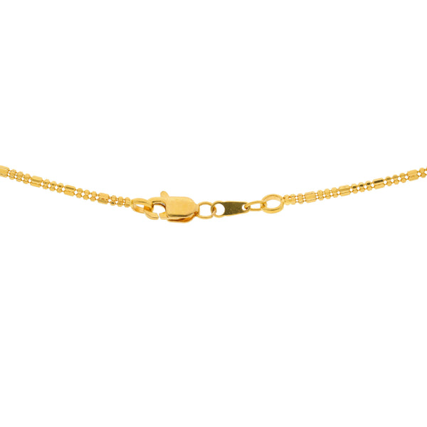 An image of the lobster claw clasp on the 22K gold necklace from Virani Jewelers. | Show off your minimalistic style with this gorgeous 22K gold necklace from Virani Jewelers!  Desi...