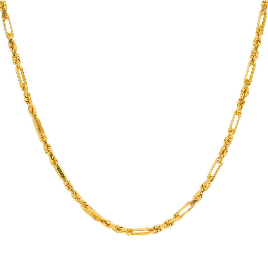 22K Yellow Gold Chain W/ Twisted Rope & Paper Clip Links |    Revel in the alternating patterns of this 22K yellow gold link chain with a featured design of...