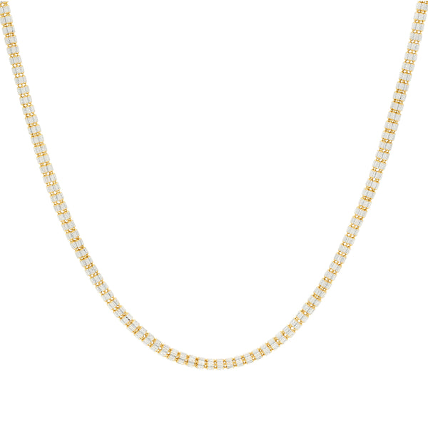 22K Multi Tone Rounded Link Chain W/ Stacked Oblong Beads, 24.3 Grams |    Make texture a part of your style with this unique 22K multi tone rounded link chain with stra...