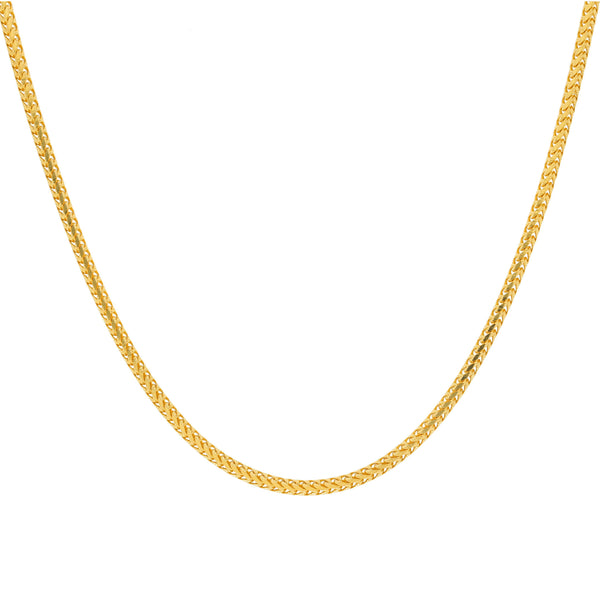 22K Yellow Gold Foxtail Link Chain, 40.9 Grams |    Suitable for both men and women, this brilliant 22K yellow gold foxtail link chain easily tran...