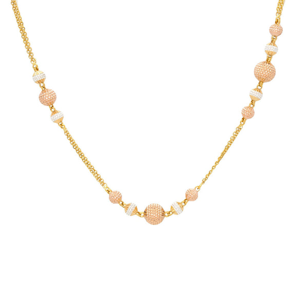 22K Gold Chain with Rose Gold Accented balls, 28 inches |    Make a statement with any look when you couple it with a 22K gold chain from Virani Jewelers! ...