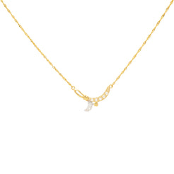 22K Yellow Gold Chain with Tiny Heart Pendant