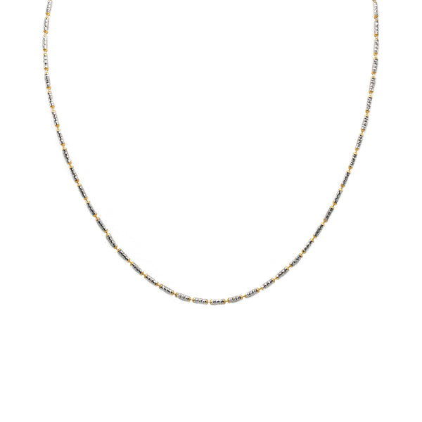 22K Multi Tone Gold Chain W/ Long Textured Beads | Add an elegant and sophisticated element to any outfit with this incredible multi-tone gold chain...