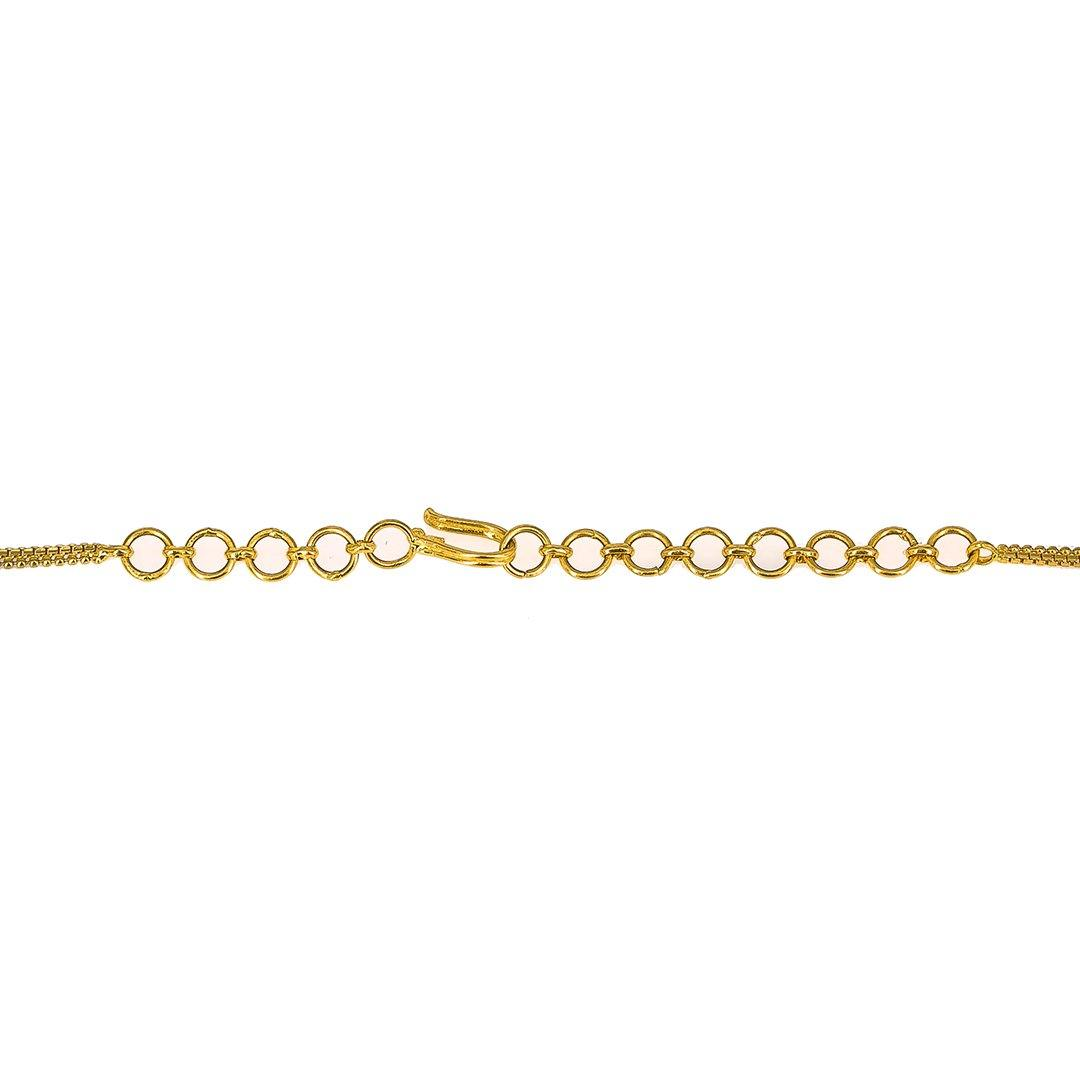 22K Yellow Gold Chain W/ Pearls & Textured Gold Balls