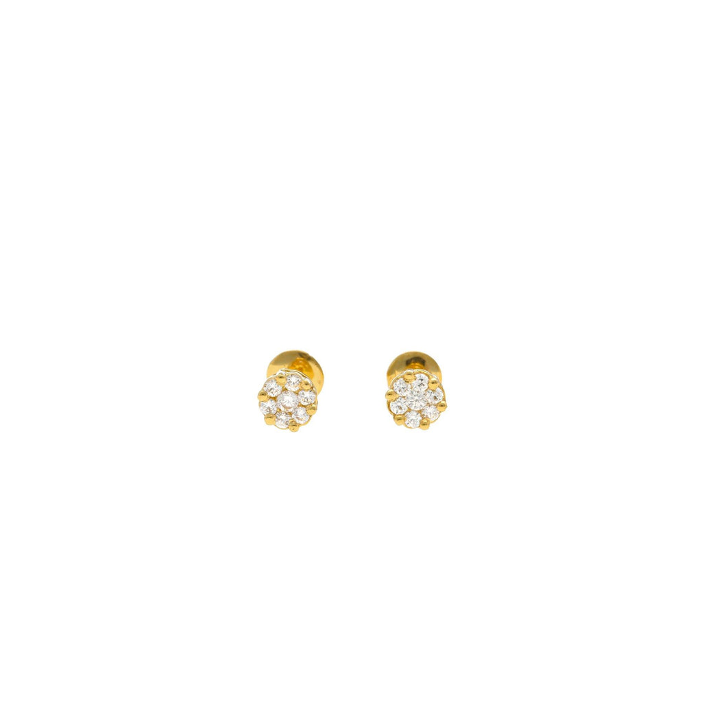 An image of the flower design on the 22K gold earrings with cubic zirconia petals from Virani Jewelers. | Give your child a gift they'll cherish with these Indian gold earrings from Virani Jewelers!  Mad...