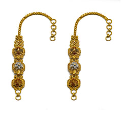 22K  Multi Tone Gold Ear Chains W/ Meenakari Hand Paint & Beaded Filigree