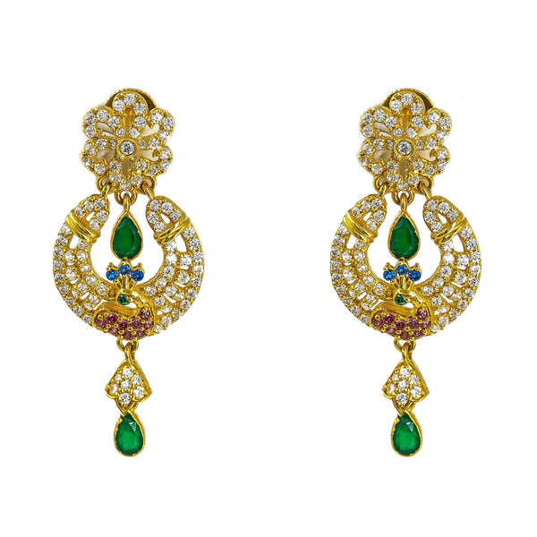 22K Yellow Gold Earrings W/ Multi Color CZ & Emeralds on Hanging Peacock Pendant |  22K Yellow Gold Earrings W/ Multi Color CZ & Emeralds on Hanging Peacock Pendant for women. ...