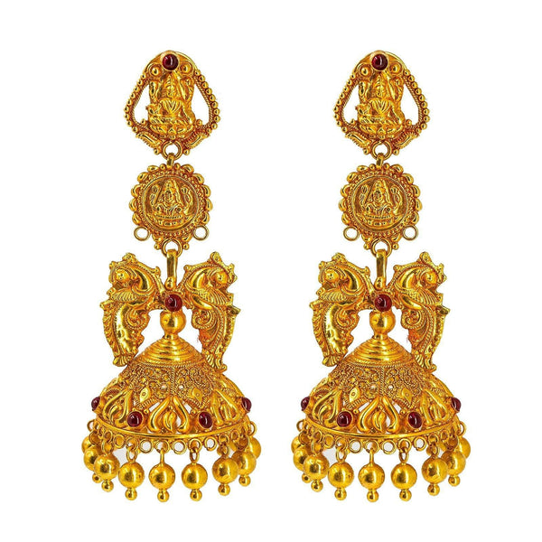 22K Yellow Gold Jhumki Drop Earrings W/ Precious Rubies on Double Laxmi Pendant Designs |  22K Yellow Gold Jhumki Drop Earrings W/ Precious Rubies on Double Laxmi Pendant Designs for wome...