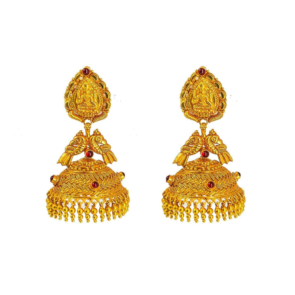 22K Yellow Gold Jhumki Drop Earrings W/ Precious Rubies on Basket Weave Design & Double Peacock Accents |  22K Yellow Gold Jhumki Drop Earrings W/ Precious Rubies on Basket Weave Design & Peacock Acc...