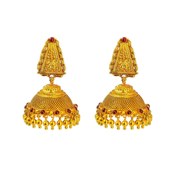 22K Yellow Gold Jhumki Drop Earrings W/ Precious Rubies & Triangular Engraved Pendant |  22K Yellow Gold Jhumki Drop Earrings W/ Precious Rubies & Triangular Engraved Pendant for wo...