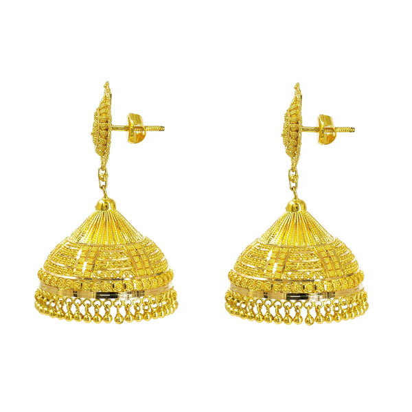 22K Yellow Gold Jhumki Earrings W/ Butta & Detailed Engravings on Mango Pendant |  22K Yellow Gold Jhumki Earrings W/ Butta & Engraved Designs on Mango Pendant for women. Thes...