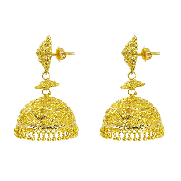 22K Yellow Gold Jhumki Earrings W/ Textured Design & Round Petaled Pendant - Virani Jewelers |  22K Yellow Gold Jhumki Earrings W/ Textured Design & Round Petaled Pendant for women. Add a ...