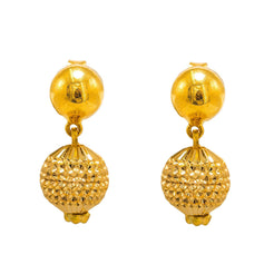 22K Multi Tone Gold Earrings W/ Textured Yellow Gold Drop Ball