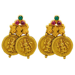 22K Yellow Gold Earrings W/ Rubies, Emeralds & Antique Finish Engraved Coins