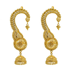 22K Yellow Gold Jhumki Earrings W/ Ear Cuff & Beaded Filigree Leaf Design
