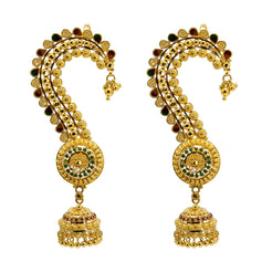 22K Multi Tone Gold Jhumki Earrings W/ ear cuff & Gold Ball Pear Accent Design