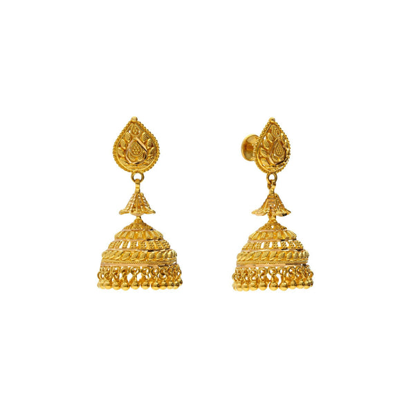22K Yellow Gold Radiant Jhumki Earrings |    Show off your cultural pride with a classic pair of indian gold Jhumki earrings! The 22K Yello...