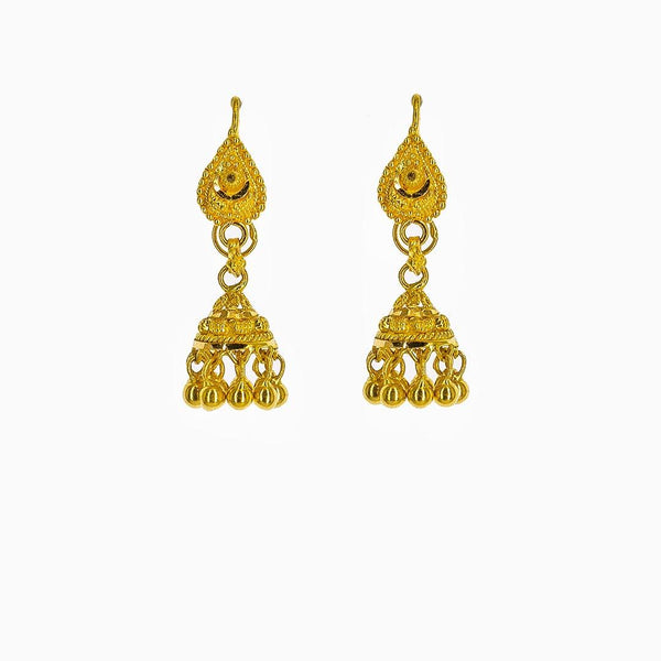 22K Yellow Gold Jhumki Drop Earrings W/ Gold Balls & Teardrop Posts |  22K Yellow Gold Jhumki Drop Earrings W/ Gold Balls & Teardrop Posts for women. These petite ...